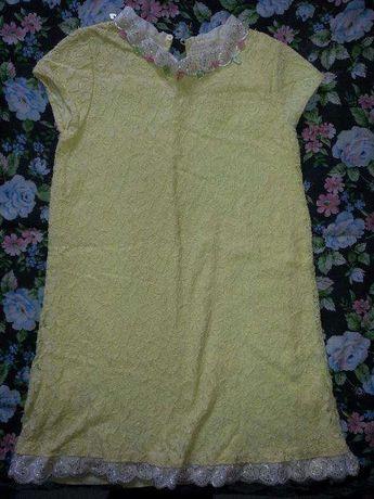 Vestido amarelo bordad