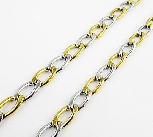 Dwukolorowy łańcuszek męski stal chirurgiczna 316L oczka 59 cm. L133