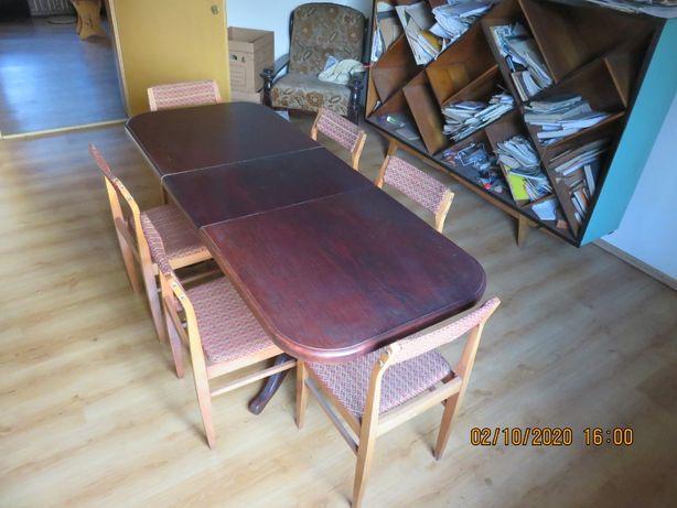 Stół, ława rozkładana i podnoszona + 6 krzeseł