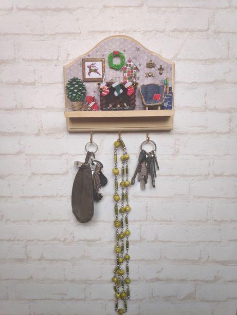 Ключница вешалка миниатюра Новогодняя. Кукольная миниатюра