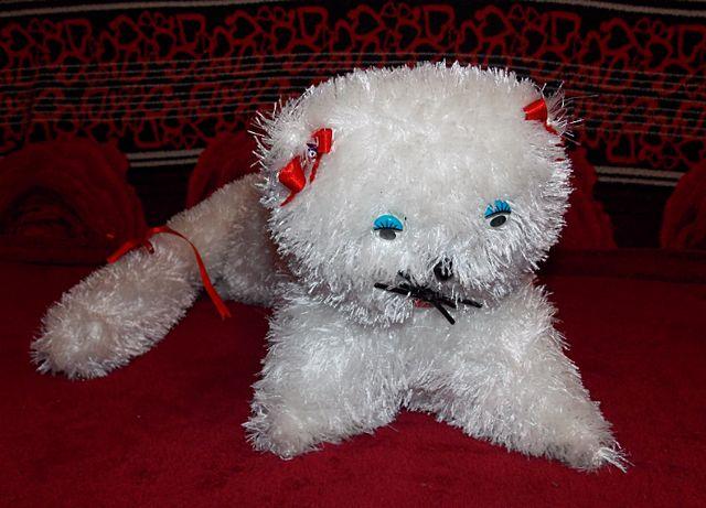 Меховая игрушка белый Котик белый большой