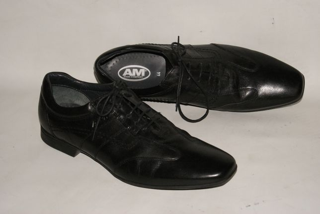 AM 44 czarne buty meskie skora