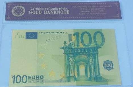 Nota 100 euros PVC+folha de ouro com certificado