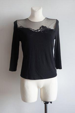 Czarna bluzka basic z siateczką wiskoza M