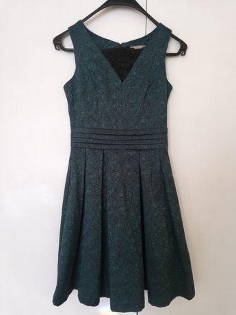 Sukienka orsay zielona koronka butelkowa czarna koronkowa rozkloszowan