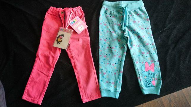Nowe spodnie jeansowe różowe pony lupilu 92 zielone Disney minnie 92