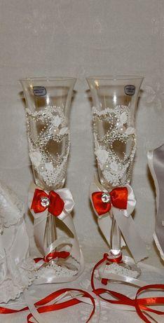 Весільні ( свадебние)бокали(стакани)Bohemia,Богема+подушечка для кілец