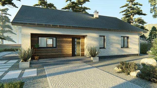 Projekt domu parterowego 108 m2 dach dwuspadowy, projekt typowy gotowy