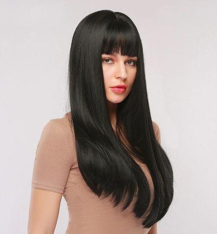 -50% Fryzura Proste długa Peruka Hebanowa Czerń włosy Naturalny Wygląd