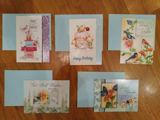 Листівки з конвертами, 5 шт., Happy birthday, With thanks, Get well