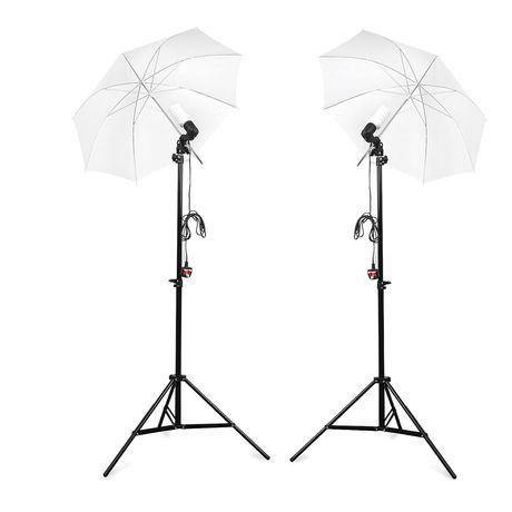 Kit duplo completo fotografia vídeo iluminação luz estúdio sombrinha