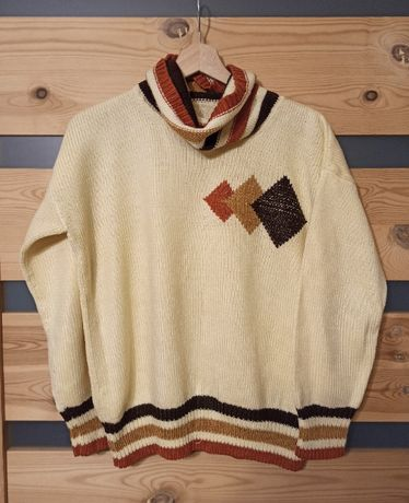 Golf geometryczny sweter vintage