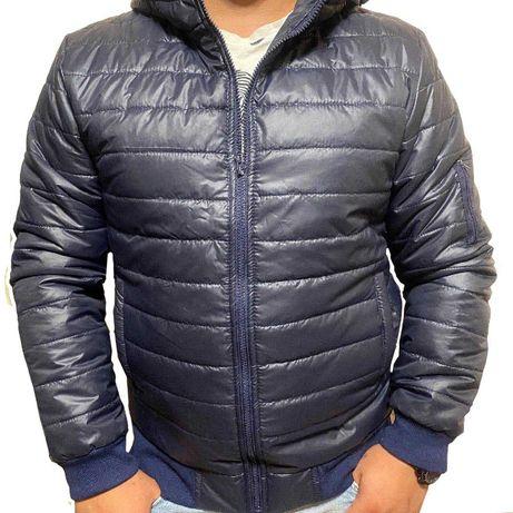 Распродажа Мужская куртка с капюшоном синяя Goldex