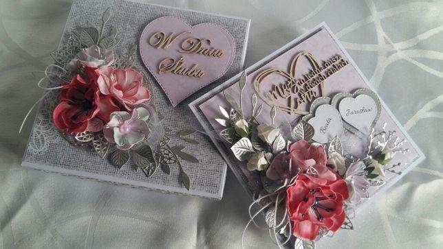 Kartka ręcznie robiona na ślub, ślubna