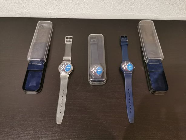 Relógios NOVOS da RSF com caixa baratos - azuis ou transparente