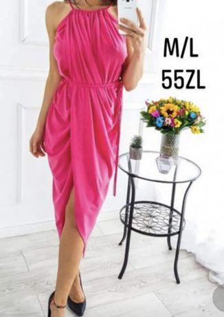 Malinowa sukienka M/L