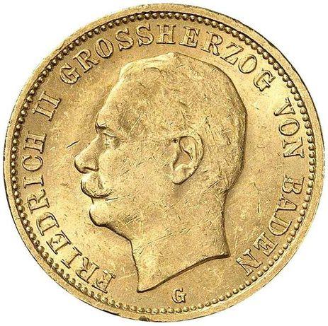 Złota moneta 20 Marek 1911 r. Badenia