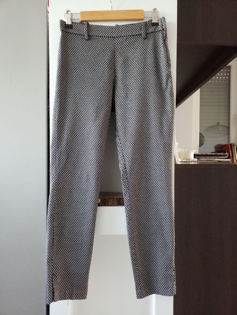 Spodnie, wzór czarno-biały, rozm. 36, S, H&M