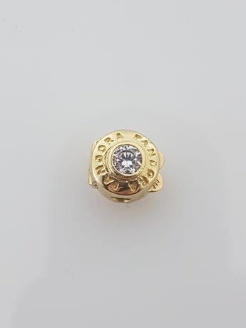 Złoty element charms-stoper na bransoletkę Pandora 14k.Nowy (319)