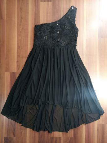 Черное шифоновое платье с паетками