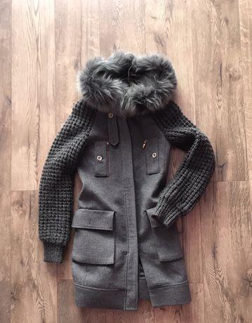 Пальто с мехом , куртка демисезонная
