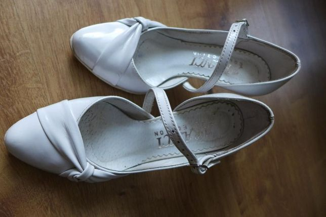 Buty ślubne, buty do ślubu, szpilki białe rozm.34 - 35