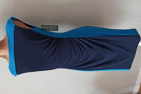 RALPH LAUREN Oryginalna Sukienka Marszczona Niebieska Granatowa Turkus