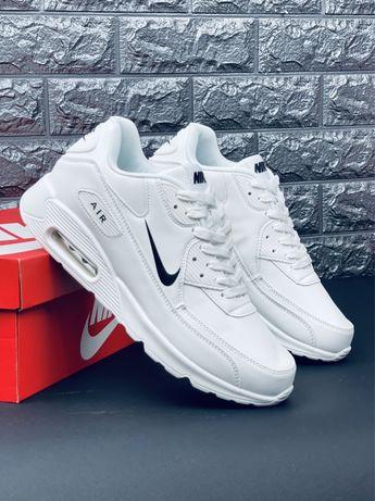 Шкіряні білі кросівки Nike Air Max 90 кросовки Найк Аир Макс 90 Скидка