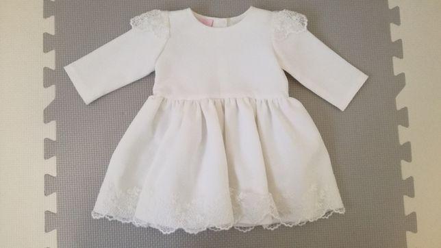 Zestaw do chrztu, sukienka ubranko buty skarpetki opaska 2x rajstopy
