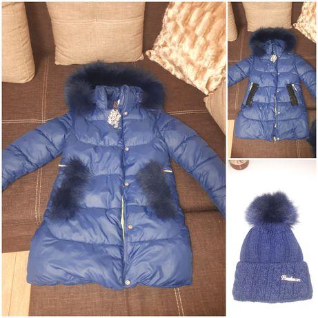Курточка зимова дуже тепла 8-9років шапочка у подарунок