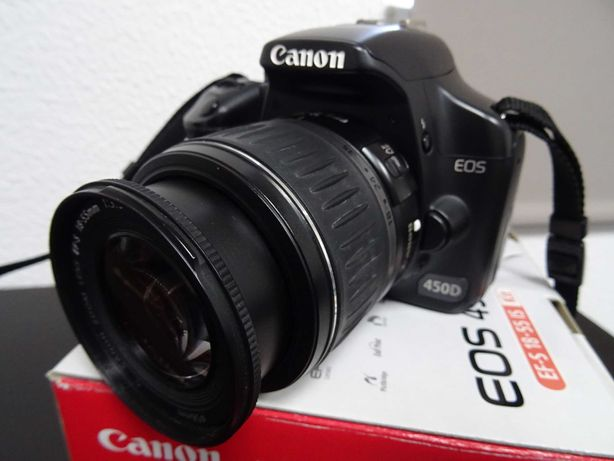 Canon EOS 450D com objectiva Canon EFS 18-55mm, impec. c/ 2 baterias
