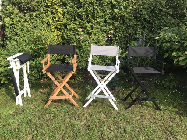 Krzesło wizażysty z logo firmy do makijażu reżyserskie wysokie z logo