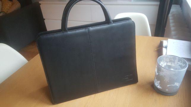 Skórzana czarna torebka city bag aktówka elegancka