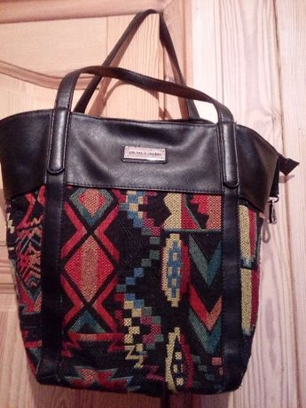 Piękna torba shopper lub worek Pierre Cardin wyszywana