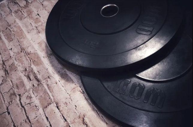 Обрезиненные диски для штанги, блины в резине, резиновые на гриф 50 мм