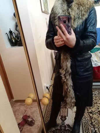Срочно!!Натуральная дубленка пальто мех енот