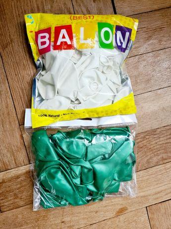 Balony zielone i białe gratis patyczki do balonów