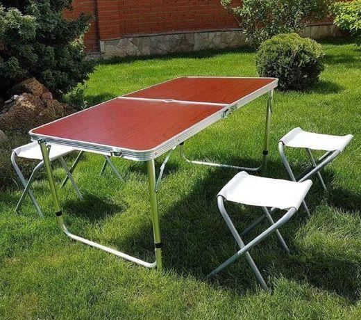 Стол алюминиевый раскладной для пикника усиленный + 4 стула, чемодан