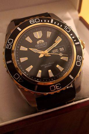 Zegarek męski Orient automatic diver Mako XL Day-date komplet gold SE