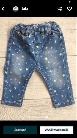 Rozm.74 spodnie jeansowe dziewczece .Jak nowe.