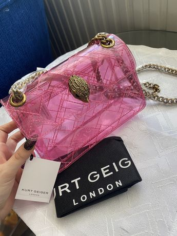 Nowa torebka Kurt Geiger London różowa transparentna mini ken crossbod