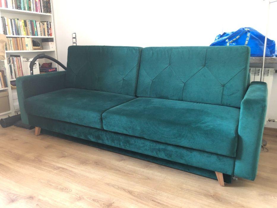 Sofa 3-osobowa rozkładana - ciemnozielona, welurowa, stan bardzo dobry Warszawa - image 1