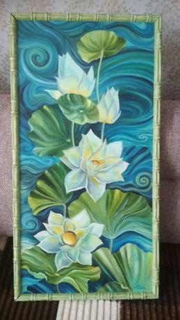 Картина выполнена масляными красками, размер 80 см на 40 см
