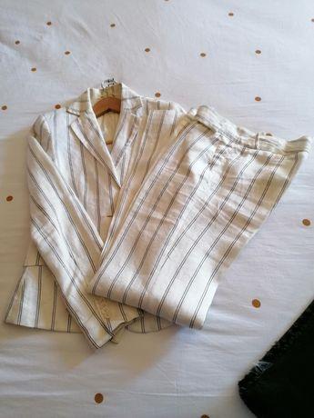 Conjunto casaco e calça em linho - Mango