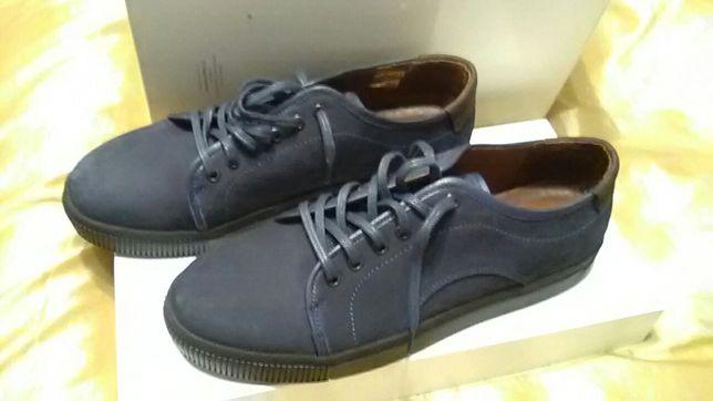 Кроссовки кожаные ( замша) 43 размер темно синие