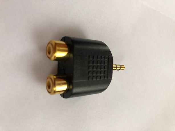 Przejściówka Adapter 2 x gniazdo cinch / mały jack stereo 3.5 mm