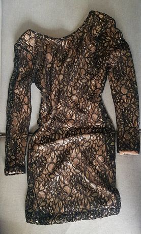 Seksowna złota sukienka czarna sukienka koronka sukienka na wesele 36
