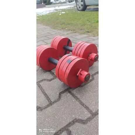 Hantle, hantelki 2x 18kg, obciążenie stalowe, siłownia