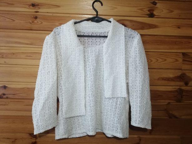 Sweterek biały bluzka ażurowa sm
