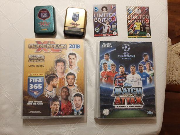 Karty piłkarskie 800 sztuk z klaserami i puszkami.